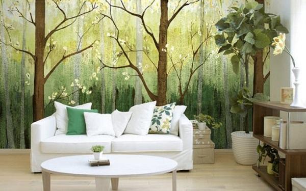 20150803 khong gian sinh dong nho tranh thien nhien dan tuong 1 Sử dụng giấy dán tường, mang cả thiên nhiên vào nhà bạn!