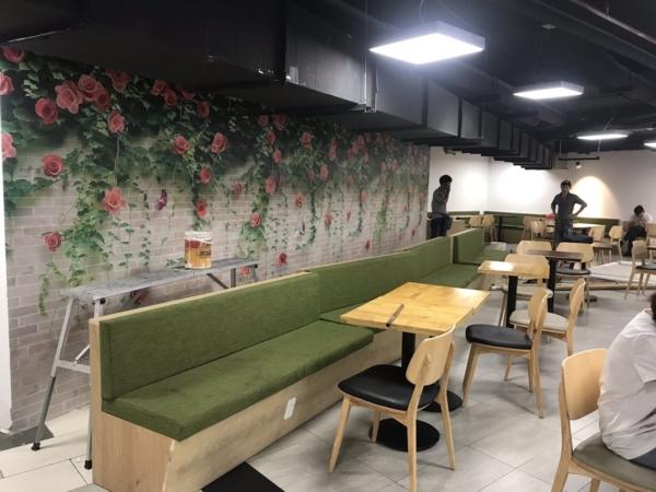 tranh dán tường 3d viên gạch và bông hồng TRANH BONG HONG DAY 1