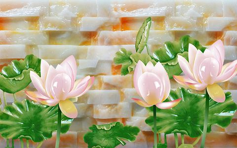 Tranh hoa sen cá BH-054 đá hoa cương bh 054 copy