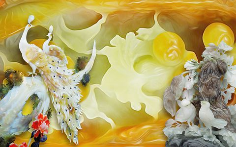 Tranh hoa sen cá BH-054 đá hoa cương th 2153 1